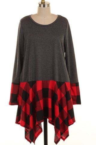 Plaid Contrast Tunic Dress