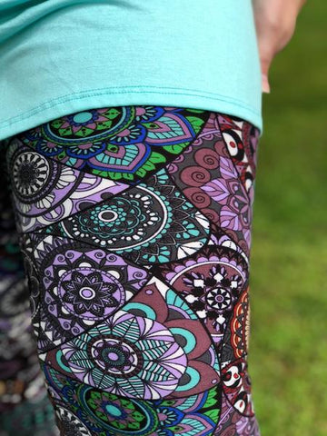 Plum Mandala Print Buttery Soft Capri Leggings