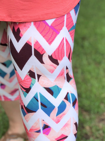 Chevron Stripe Floral Print Buttery Soft Capri Leggings