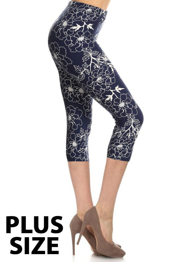 Floral Print Buttery Soft Brushed Capri Leggings
