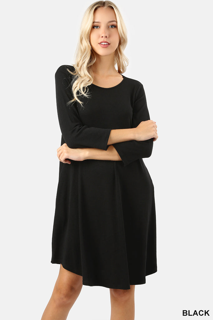 3/4 Sleeve Round Hem Sweater Dress - Sunni Rae's