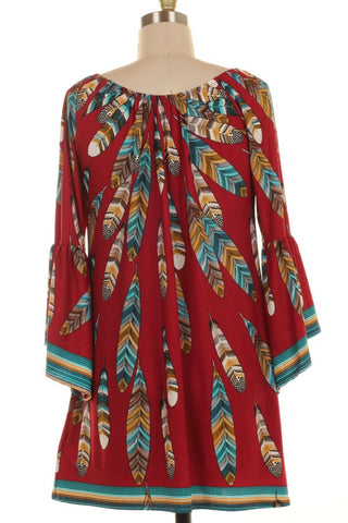 Bell Sleeve Feather Print Tunic Top