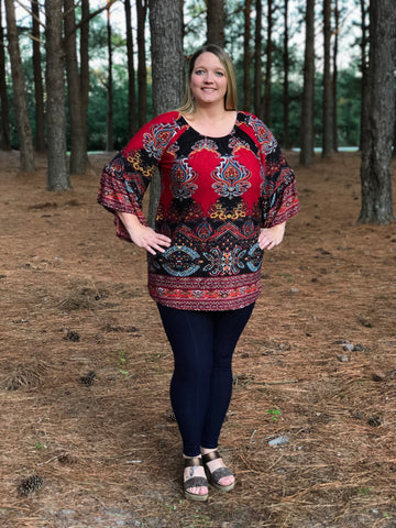 Bell Sleeve Border Print Tunic Top