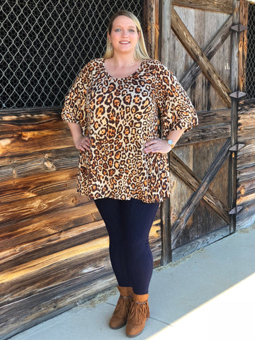 Wide Sleeve Leopard Print Tunic Top