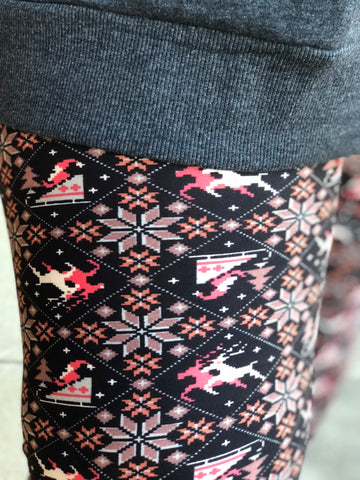 Christmas Pattern Print Buttery  Leggings