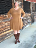 3/4 Sleeve Round Hem Swing Dress - Sunni Rae's