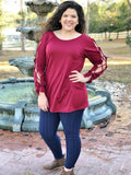 Eyelet Ribbon Sleeve Tunic Top