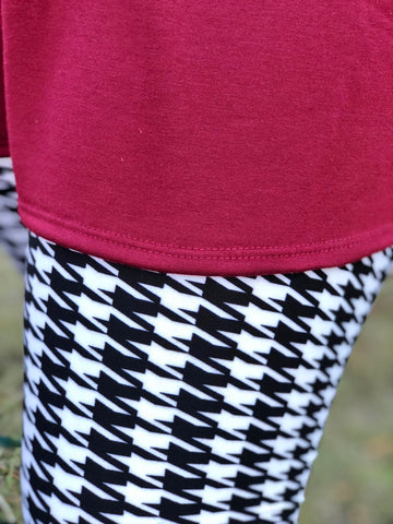 Brushed Houndstooth Print Leggings