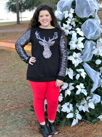 Reindeer Pattern Sequined Knit Top