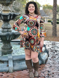 Crushed Velvet Geo Print Dress with Pockets