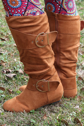 Slouch Buckled Boots