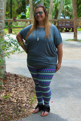 Brushed Aztec Tribal Print Leggings
