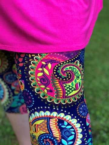 Bright Paisley Buttery Soft Brushed Capri Leggings