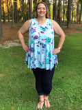 Floral Print Tunic Tank Dress - Sunni Rae's