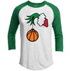 Grinch Basketball Premium Christmas Raglan