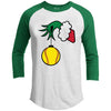 Grinch Softball Premium Christmas Raglan