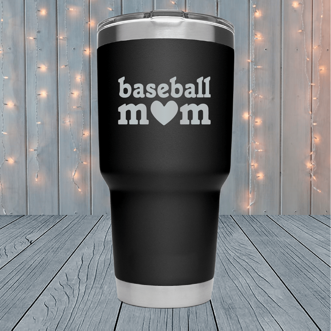 Baseball Mom Heart Laser Engraved Tumblers