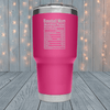 Baseball Mom Nutrition Laser Engraved Tumblers