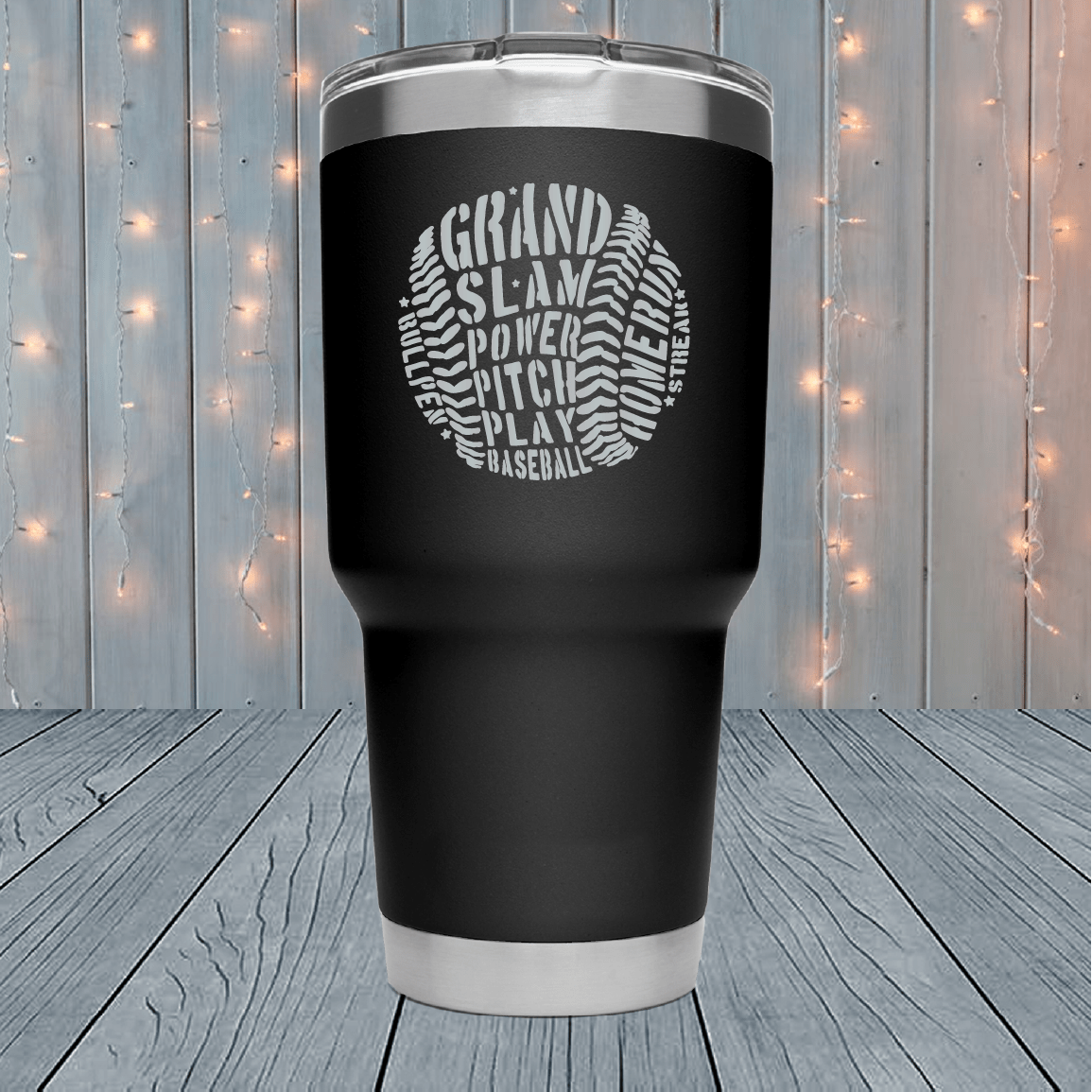 Baseball Word Cloud Laser Engraved Tumblers