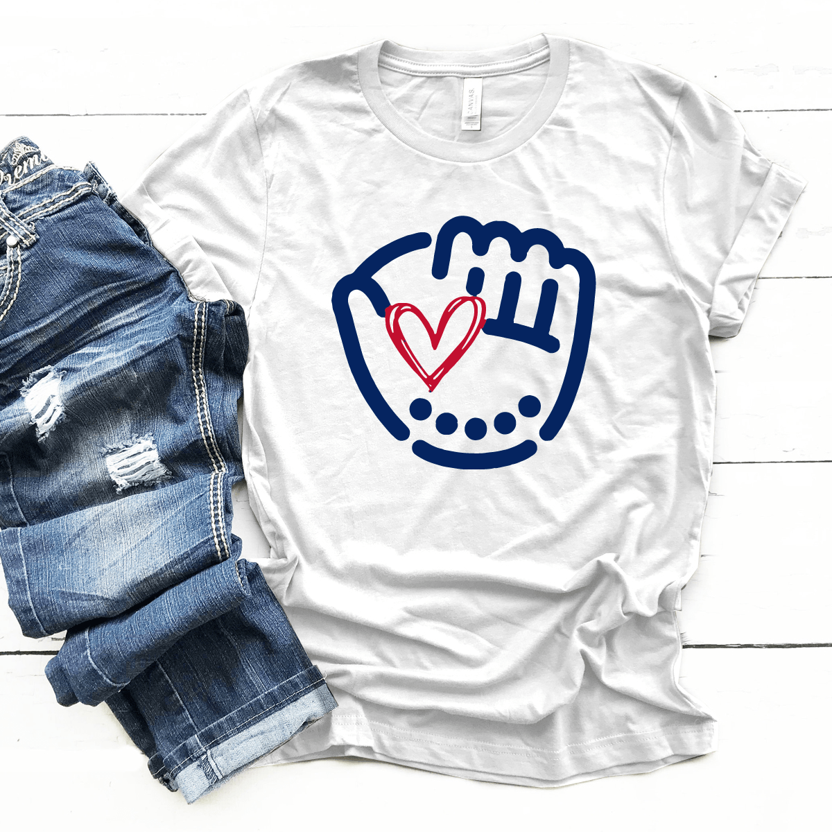 Baseball Heart and Glove - Premium Unisex T-Shirt