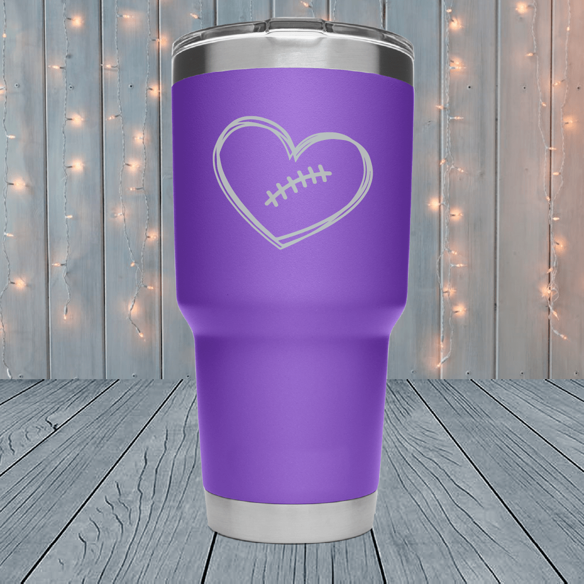 Cute Football Heart Laser Engraved Tumblers