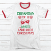 White And Red Christmas Premium Christmas Ringer Tee