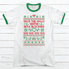 Deck The Halls Nurse Premium Christmas Ringer Tee