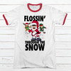 Flossin' Through the Snow Premium Christmas Ringer Tee