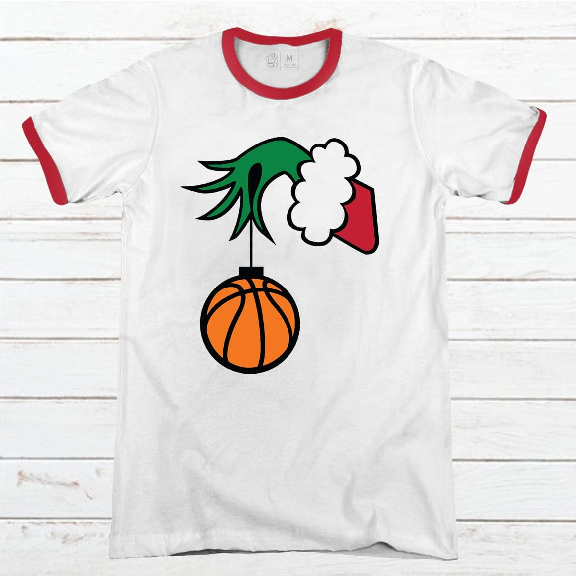 Grinch Basketball Premium Christmas Ringer Tee