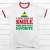 I Just Like To Smile Premium Christmas Ringer Tee