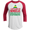 I Just Like to Smile Premium Youth Christmas Raglan
