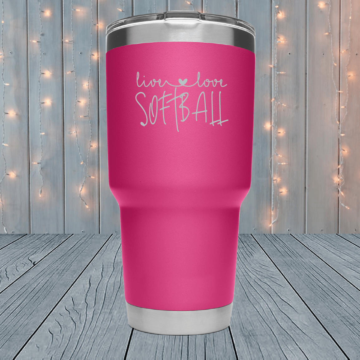 Live Love Softball Laser Engraved Tumblers