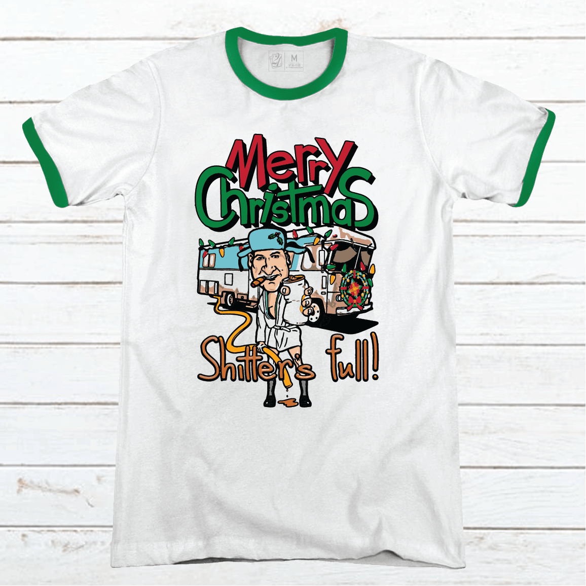 SHITTERS FULL Color Cartoon Premium Christmas Ringer Tee