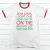 On The Naughty List Premium Christmas Ringer Tee