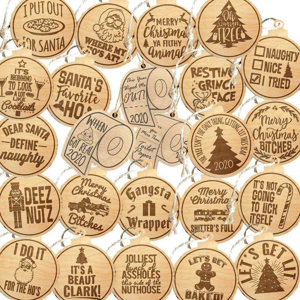 Master Pack All Designs Laser Engraved Wooden Christmas Ornaments