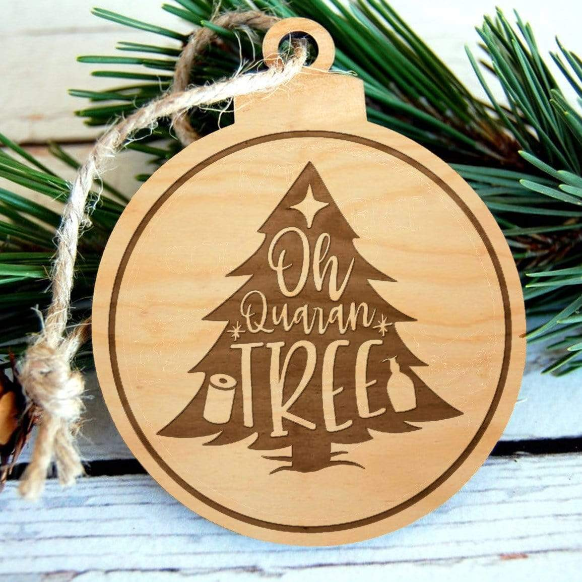 Quarantree Laser Engraved Wooden Christmas Ornament