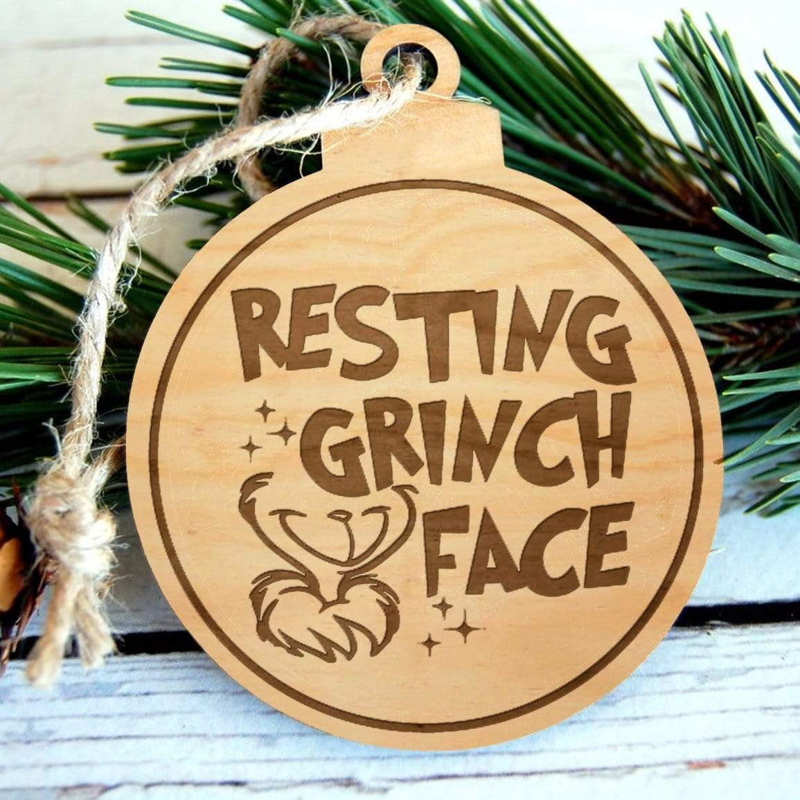 Resting Grinch Face Laser Engraved Wooden Christmas Ornament