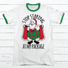 STOP STARING AT MY PACKAGE Premium Christmas Ringer Tee