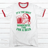 Wonderful Time For A Beer Premium Christmas Ringer Tee