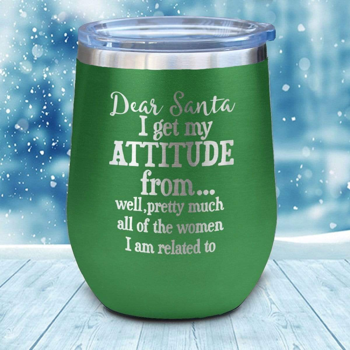 Tumbler - Attitude Christmas Wine Glass