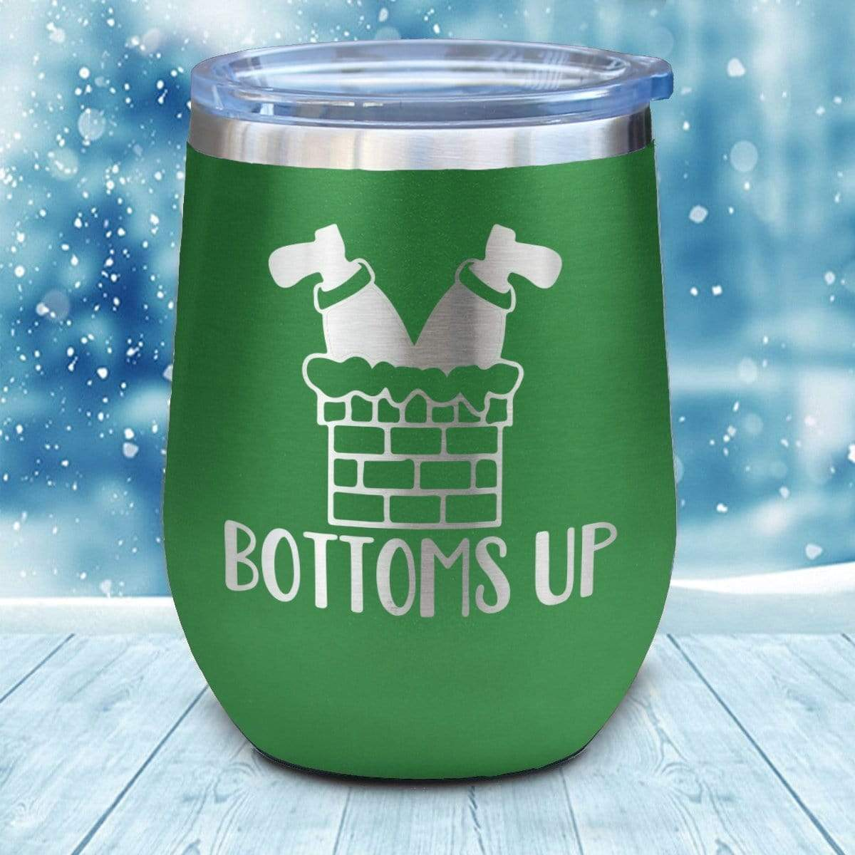 Tumbler - Bottoms Up Christmas Wine Glass