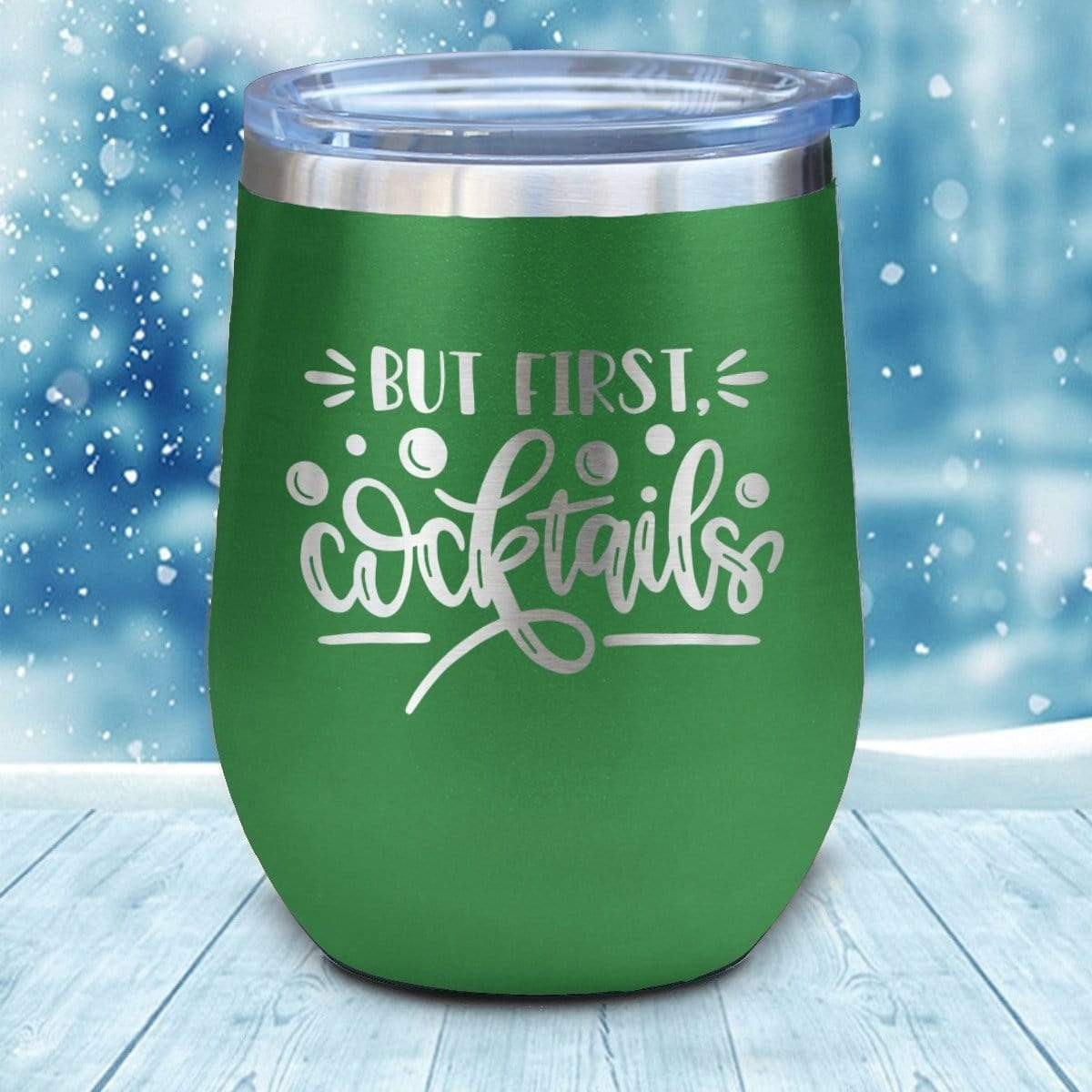 Tumbler - But First Cocktails Christmas Wine Glass