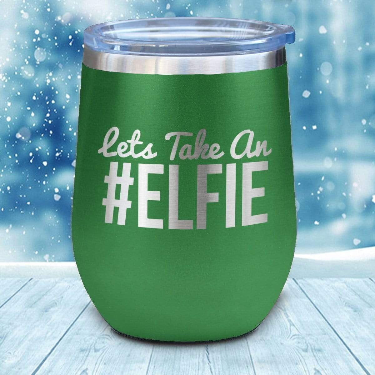 Tumbler - #Elfie Christmas Wine Glass