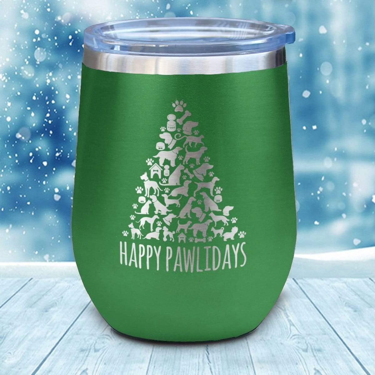 Tumbler - Happy Pawlidays Christmas Wine Glass