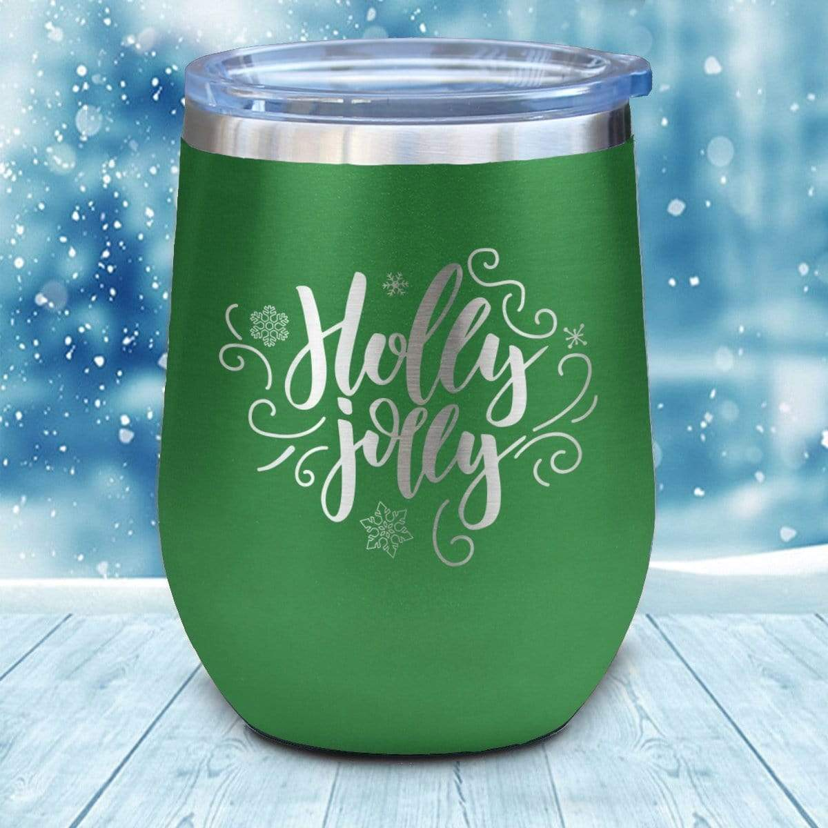 Tumbler - Holly Jolly Christmas Wine Glass
