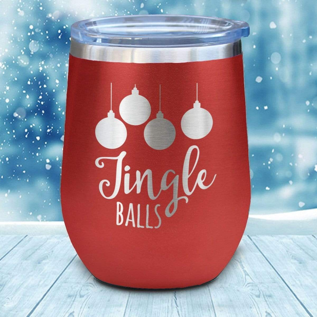 Tumbler - Jingle Balls Christmas Wine Glass