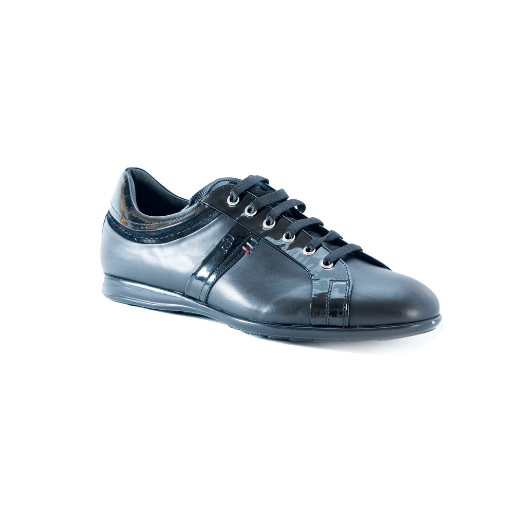 Vercelli Leather and Patent Lace-Up Sneaker
