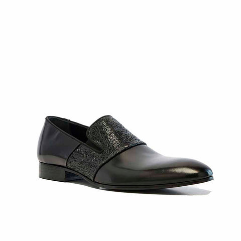 Verona Black Luxe Leather Loafer with Interwoven Vamp