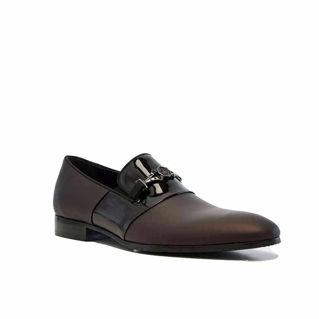 Barolo Luxe Gomma Leather Loafer with Patent Vamp