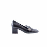 Roma Black Italian Loafer with Medium Heel